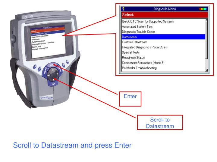 Scroll to datastream and press enter