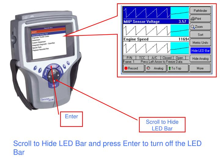 Scroll to Hide LED Bar and press Enter to turn off the LED Bar