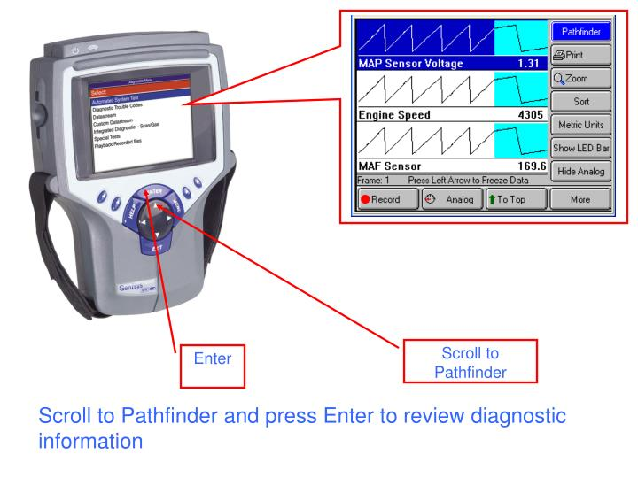 Scroll to Pathfinder and press Enter to review diagnostic information