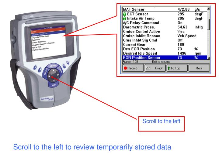 Scroll to the left to review temporarily stored data
