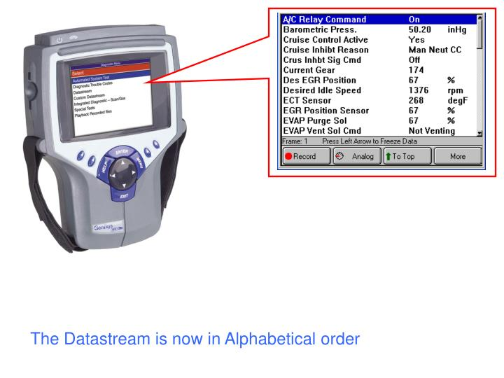 The Datastream is now in Alphabetical order