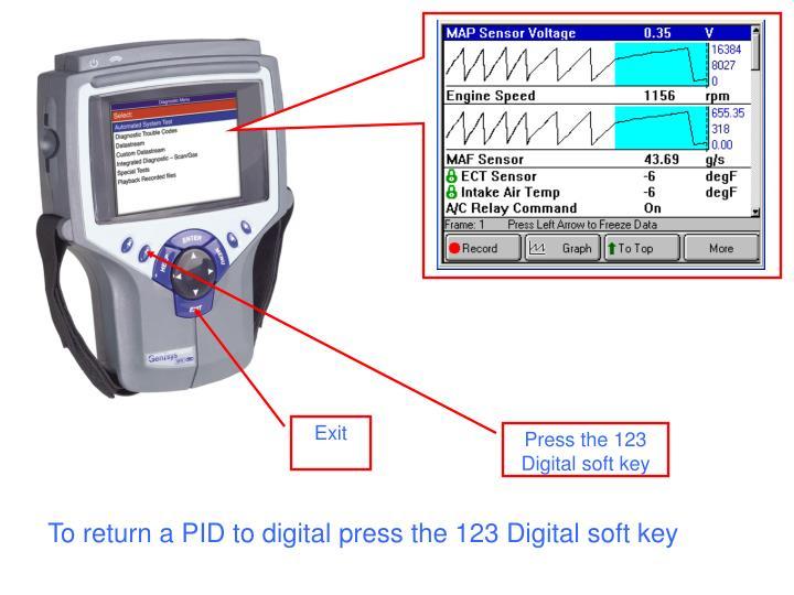 To return a PID to digital press the 123 Digital soft key