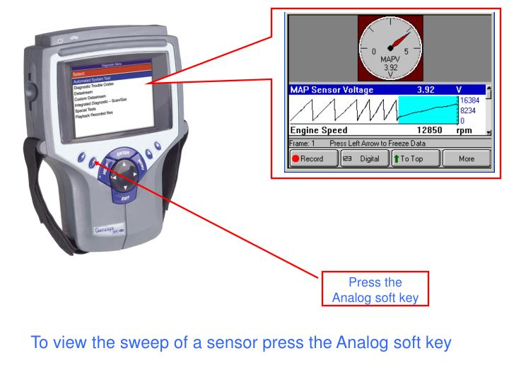 To view the sweep of a sensor press the Analog soft key
