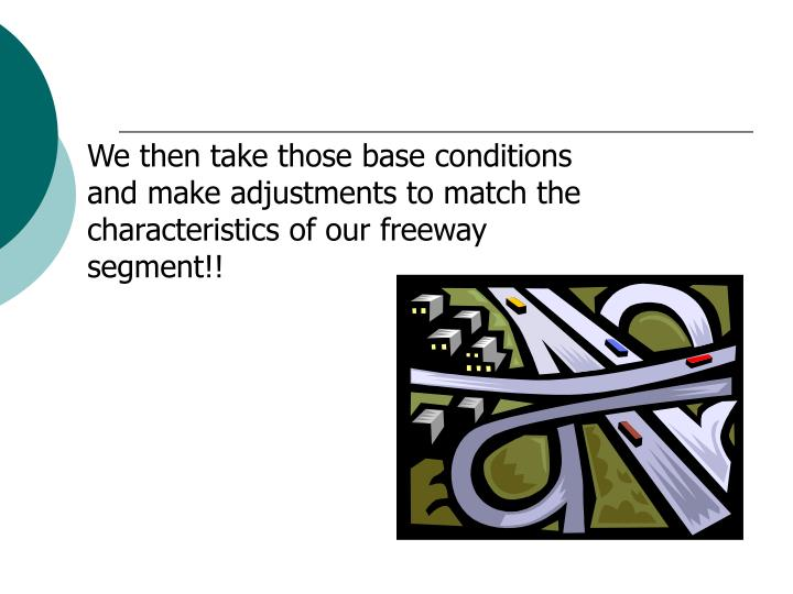 We then take those base conditions and make adjustments to match the characteristics of our freeway segment!!