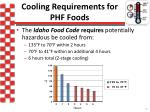 cooling requirements for phf foods