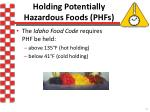 holding potentially hazardous foods phfs