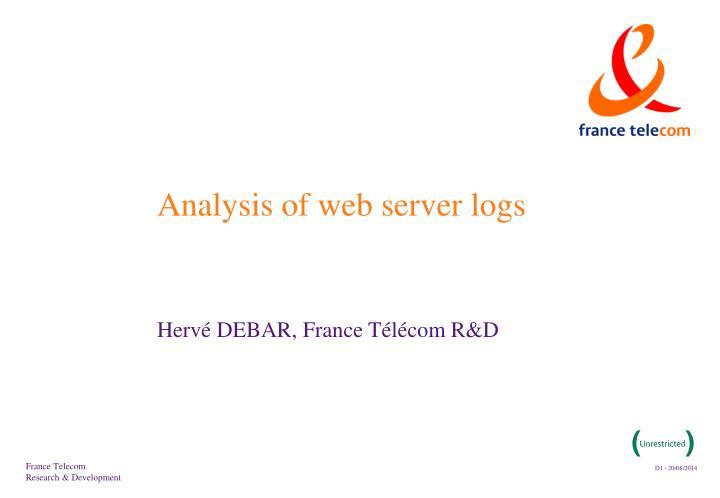 Analysis of web server logs