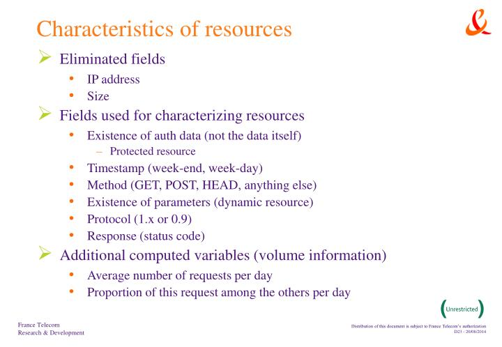 Characteristics of resources