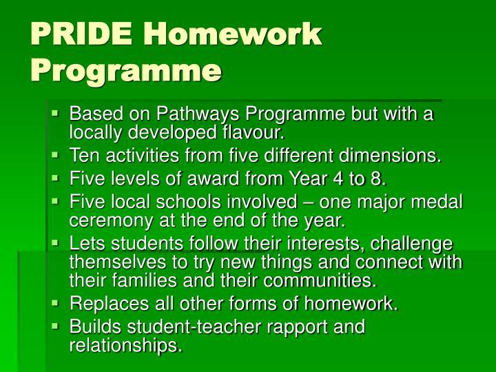 PRIDE Homework Programme