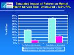 simulated impact of reform on mental health service use uninsured 133 fpl