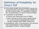 definition of probability for from tof