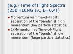 e g time of flight spectra 250 hijing ev b 0 4t