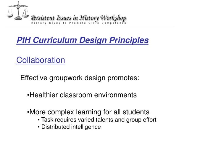 PIH Curriculum Design Principles