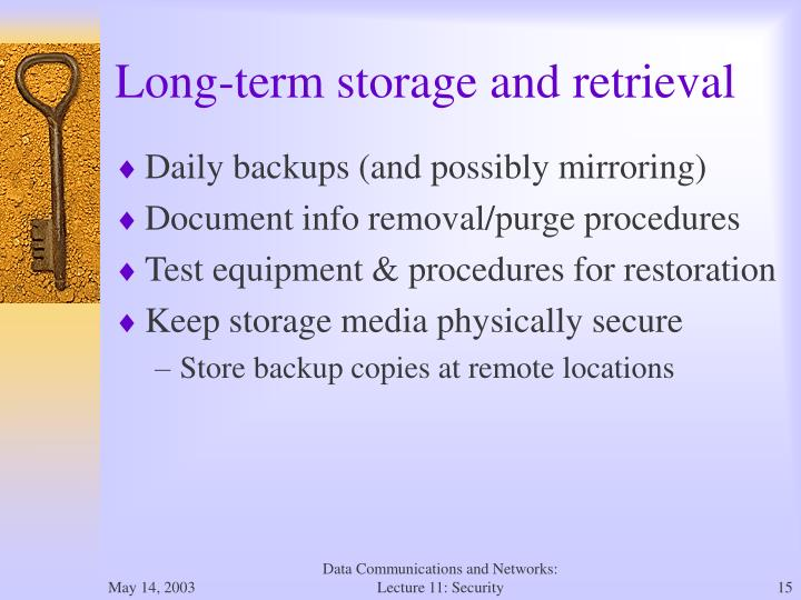 Long-term storage and retrieval