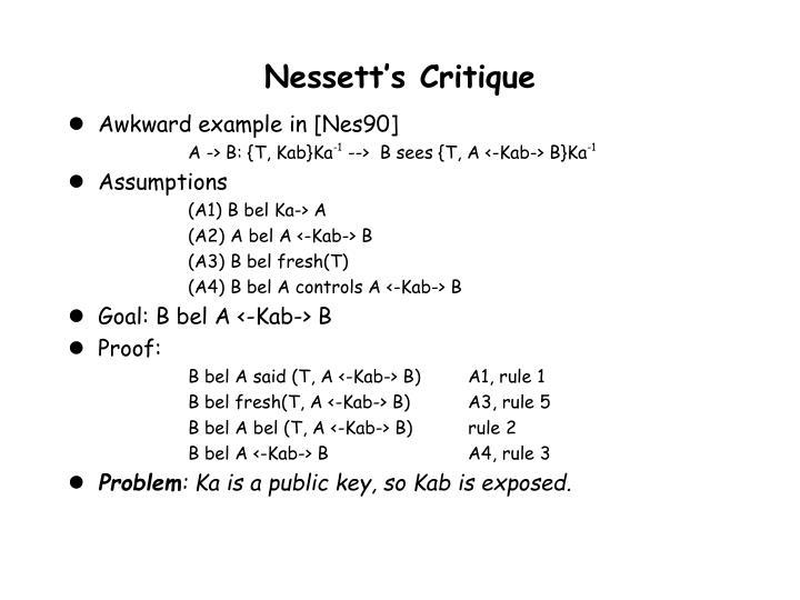 Nessett's Critique