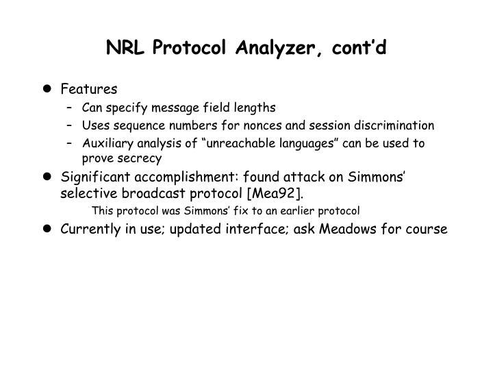 NRL Protocol Analyzer, cont'd