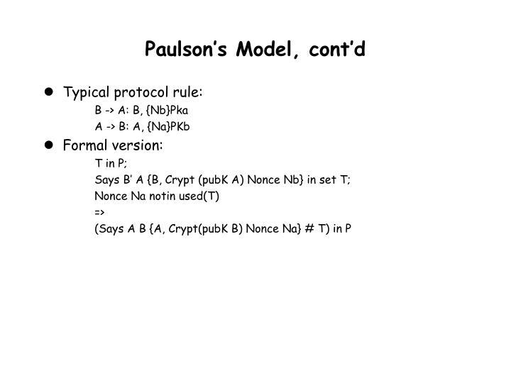 Paulson's Model, cont'd