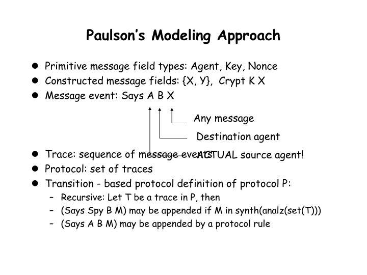 Paulson's Modeling Approach