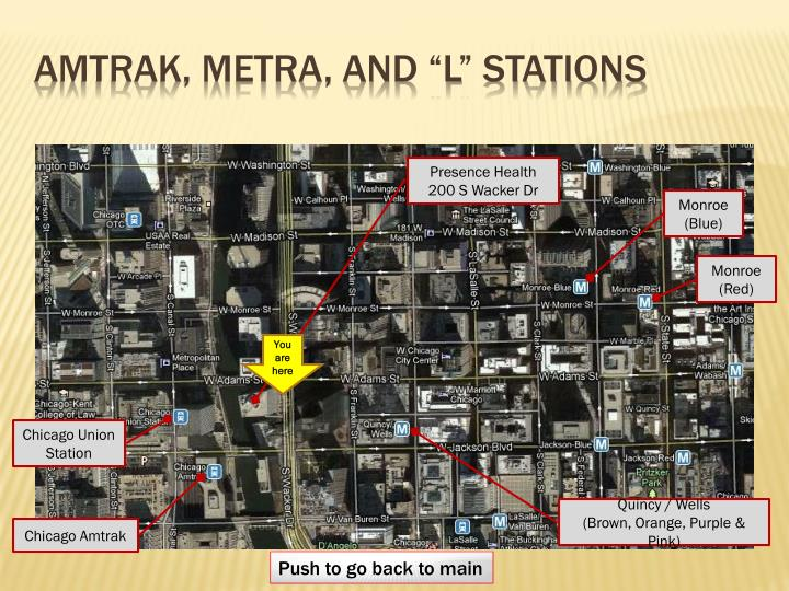 """Amtrak, metra, and """"l"""" Stations"""