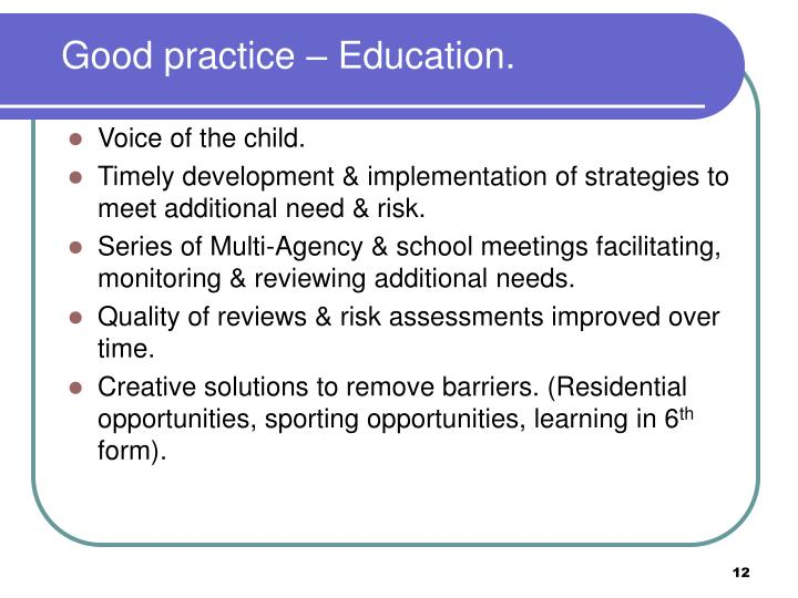Good practice – Education.