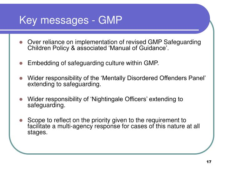 Key messages - GMP