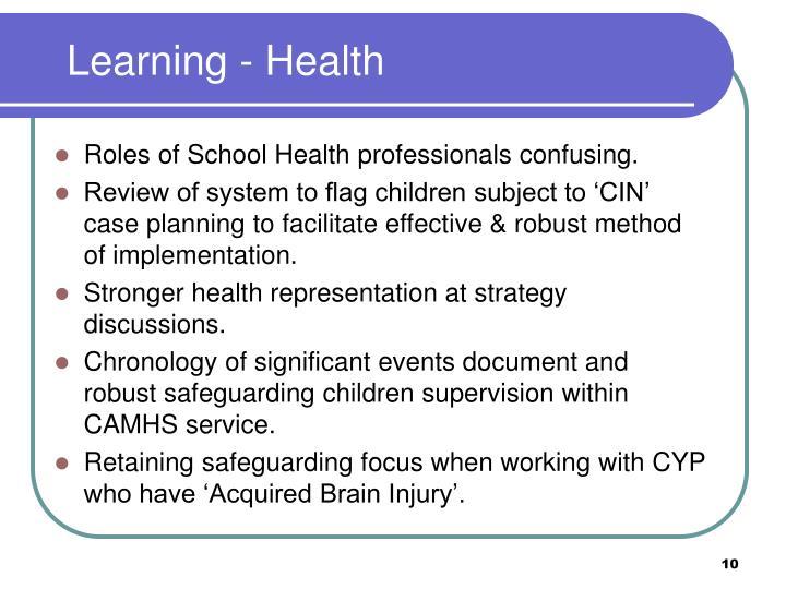 Learning - Health
