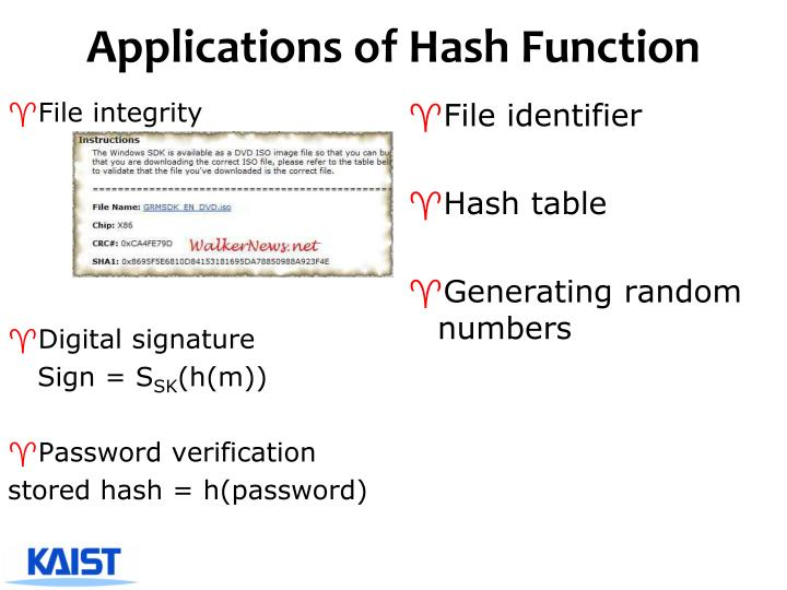 Applications of Hash Function