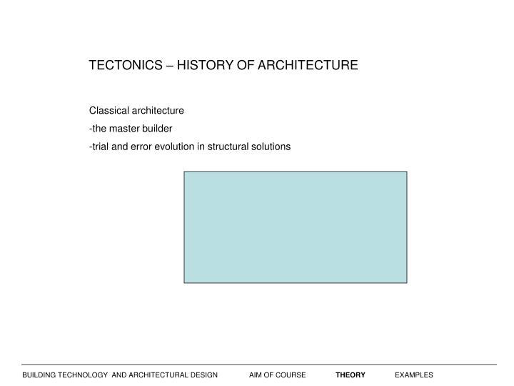 TECTONICS – HISTORY OF ARCHITECTURE