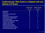 cardiovascular risk factors in subjects with and without a cv event
