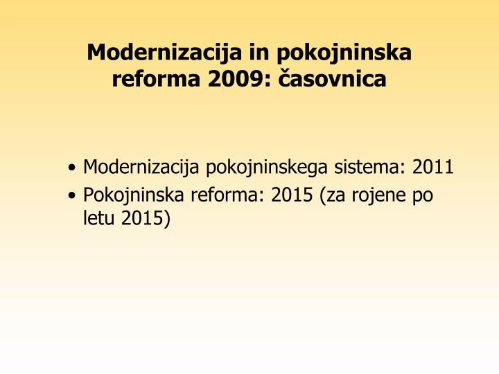 Modernizacija in pokojninska reforma 2009: časovnica