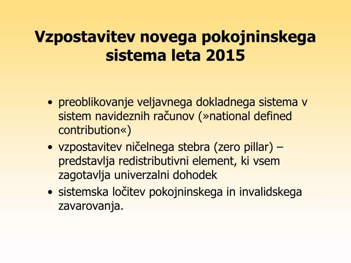 Vzpostavitev novega pokojninskega sistema leta 2015