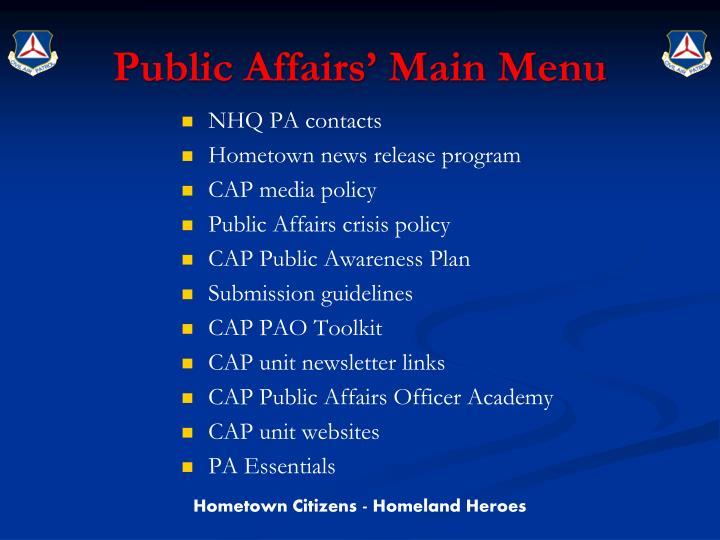 Public Affairs' Main Menu