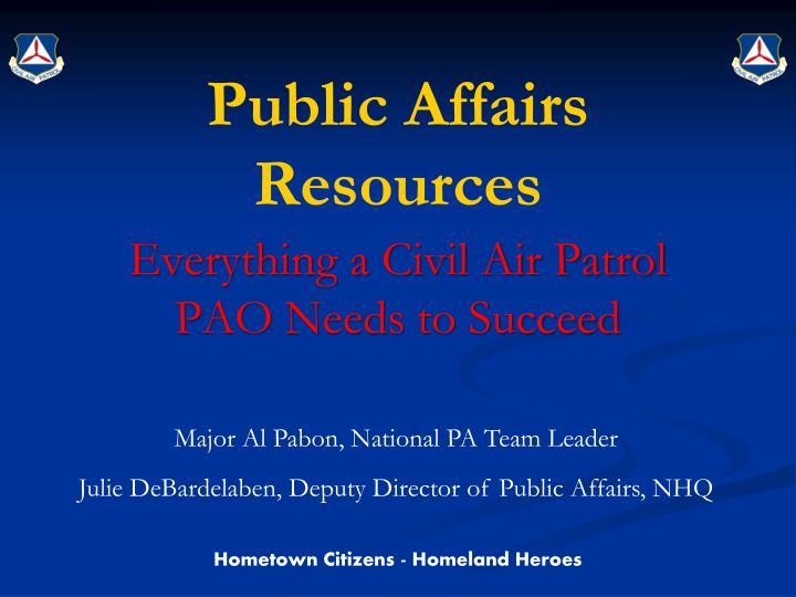 Public affairs resources