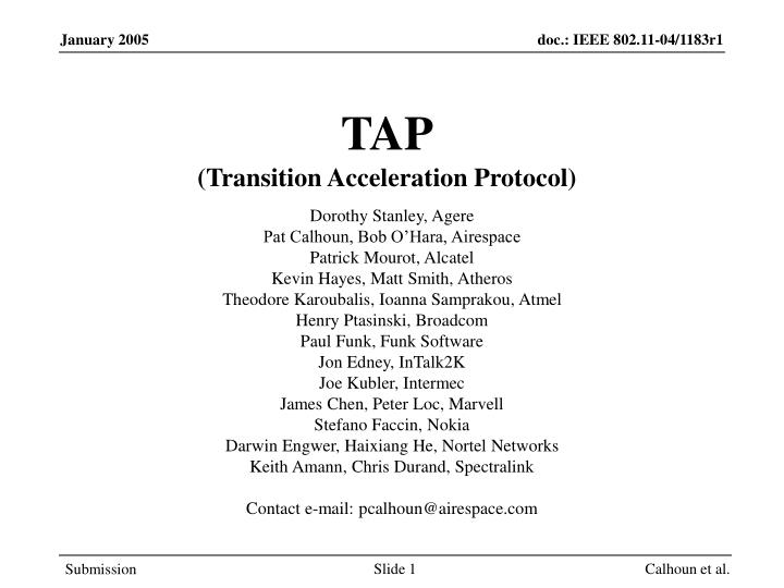 tap transition acceleration protocol n.
