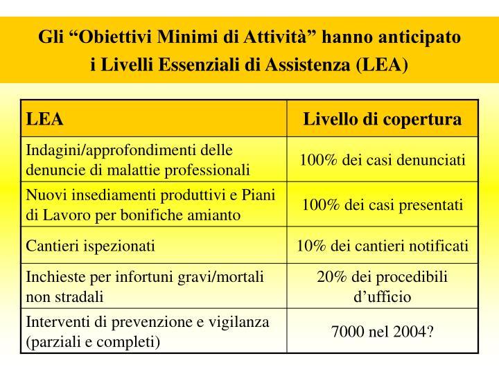 """Gli """"Obiettivi Minimi di Attività"""" hanno anticipato                 i Livelli Essenziali di Assistenza (LEA)"""