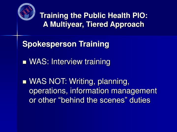 Training the Public Health PIO:
