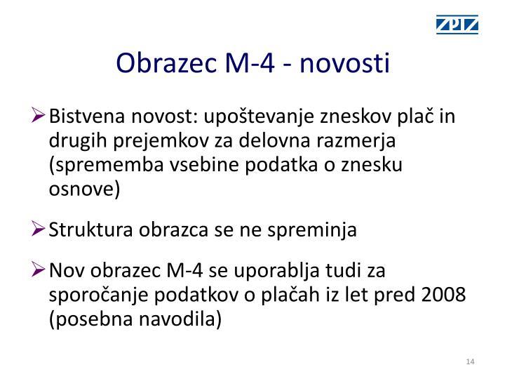 Obrazec M-4 - novosti