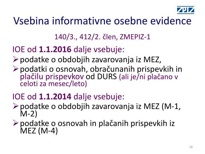 Vsebina informativne osebne evidence