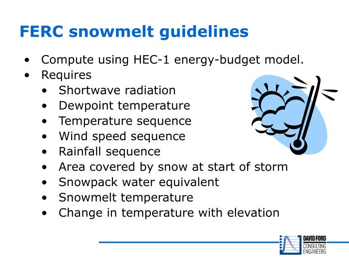 FERC snowmelt guidelines