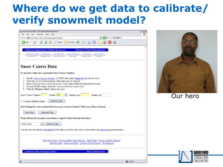 Where do we get data to calibrate/ verify snowmelt model?