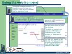 using the web front end