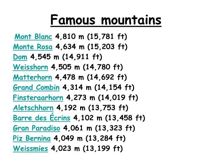 Famous mountains