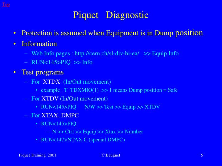 Protection is assumed when Equipment is in Dump