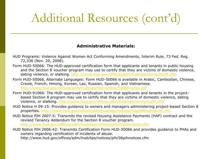Additional Resources (cont'd)