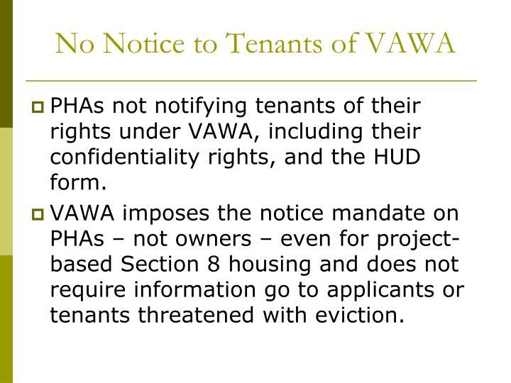 No Notice to Tenants of VAWA