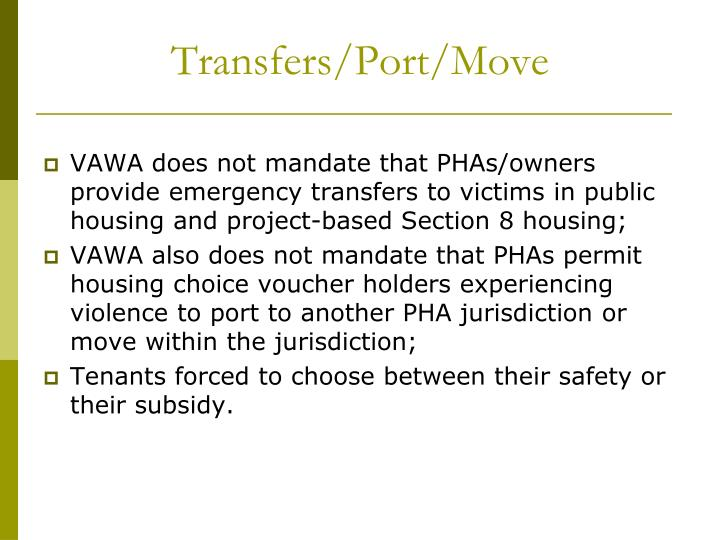 Transfers/Port/Move