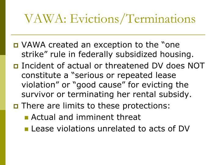 VAWA: Evictions/Terminations