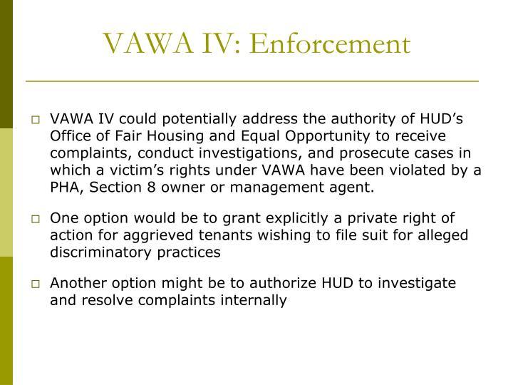 VAWA IV: Enforcement