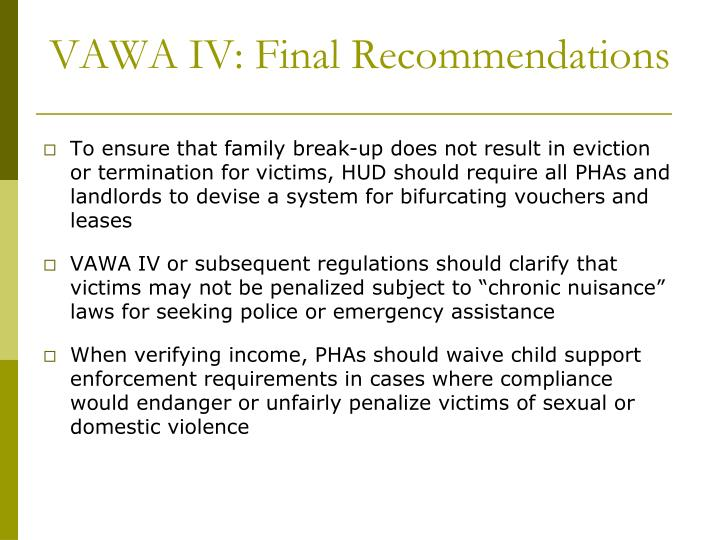 VAWA IV: Final Recommendations