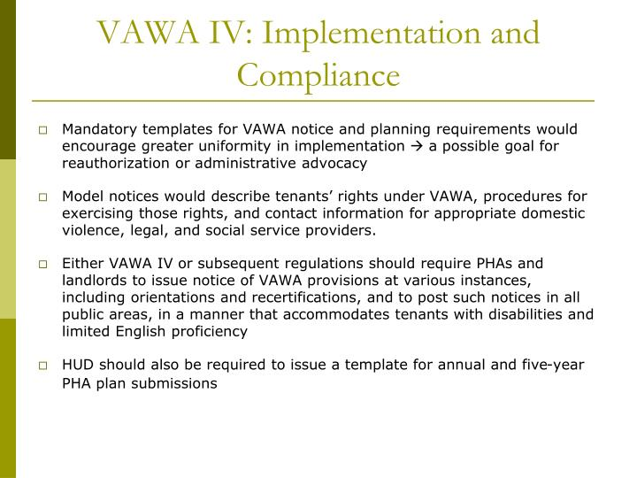 VAWA IV: Implementation and Compliance
